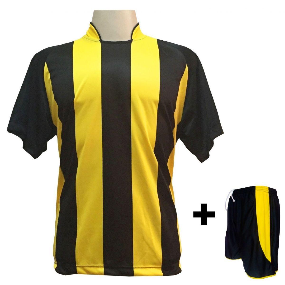 Uniforme Esportivo com 18 camisas modelo Milan Preto/Amarelo + 18 calções modelo Copa + 1 Goleiro + Brindes