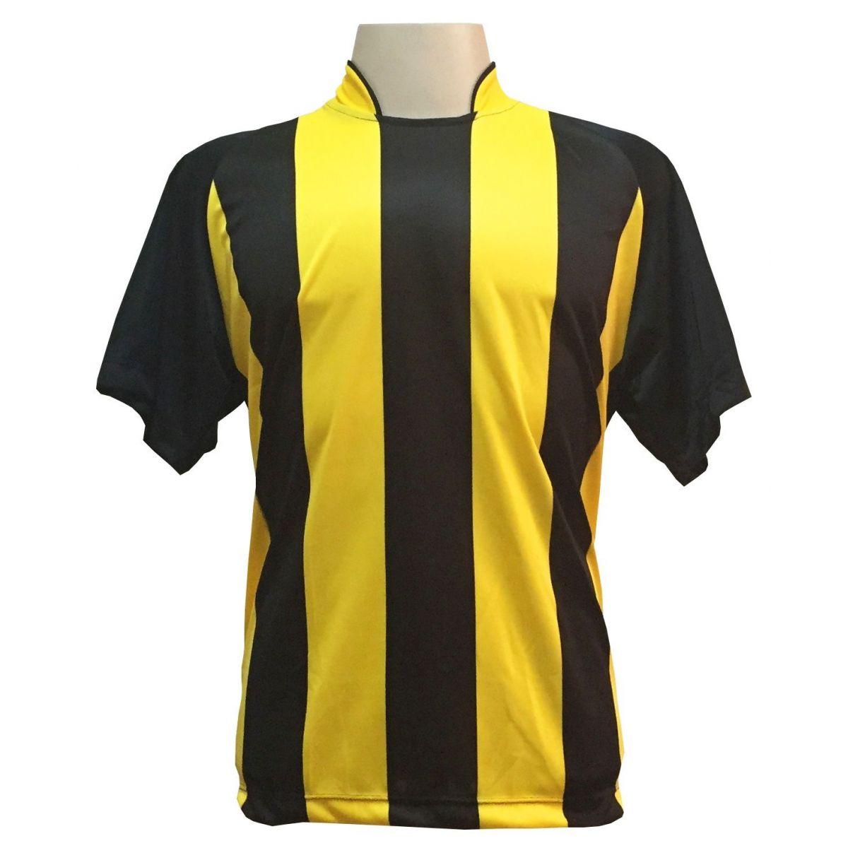 Uniforme Completo modelo Milan 18+2 (18 Camisas Preto/Amarelo + 18 Calções Modelo Copa Preto/Amarelo + 18 Pares de Meiões Pretos + 2 Conjuntos de Goleiro) + Brindes
