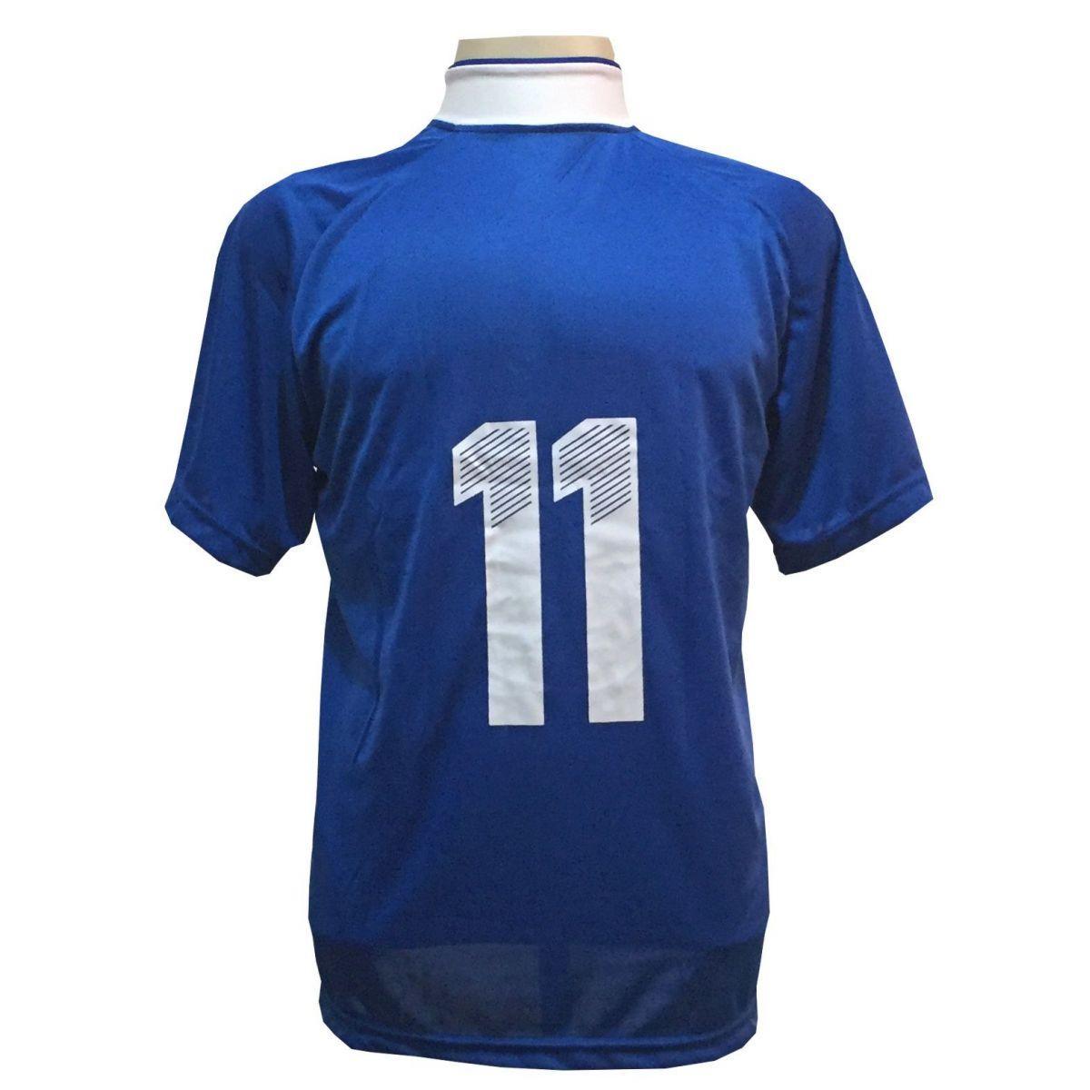 Uniforme Esportivo com 18 camisas modelo Milan Royal/Branco + 18 calções modelo Copa + 1 Goleiro + Brindes