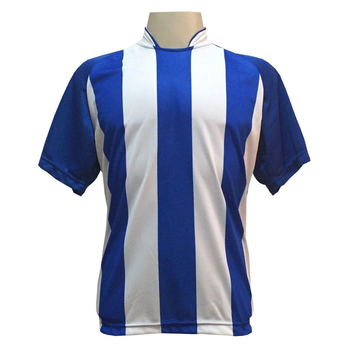 Uniforme Completo modelo Milan 18+1 (18 Camisas Royal/Branco + 18 Calções Copa Royal/Branco + 18 Pares de Meiões Royal + 1 Conjunto de Goleiro) + Brindes
