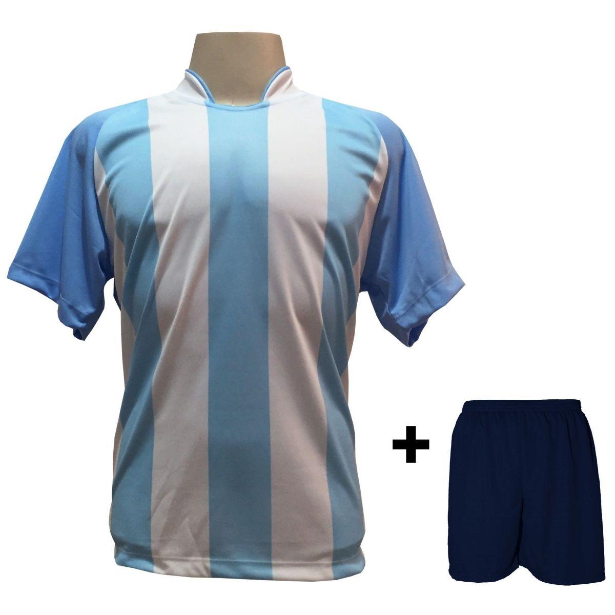 Uniforme Esportivo com 12 camisas modelo Milan Celeste/Branco + 12 calções modelo Madrid + 1 Goleiro + Brindes
