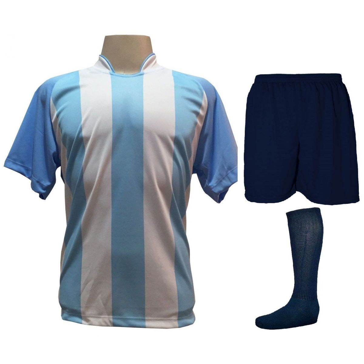 Fardamento Completo modelo Milan 18+2 (18 Camisas Celeste/Branco + 18 Calções Madrid Marinho + 18 Pares de Meiões Marinho + 2 Conjuntos de Goleiro) + Brindes