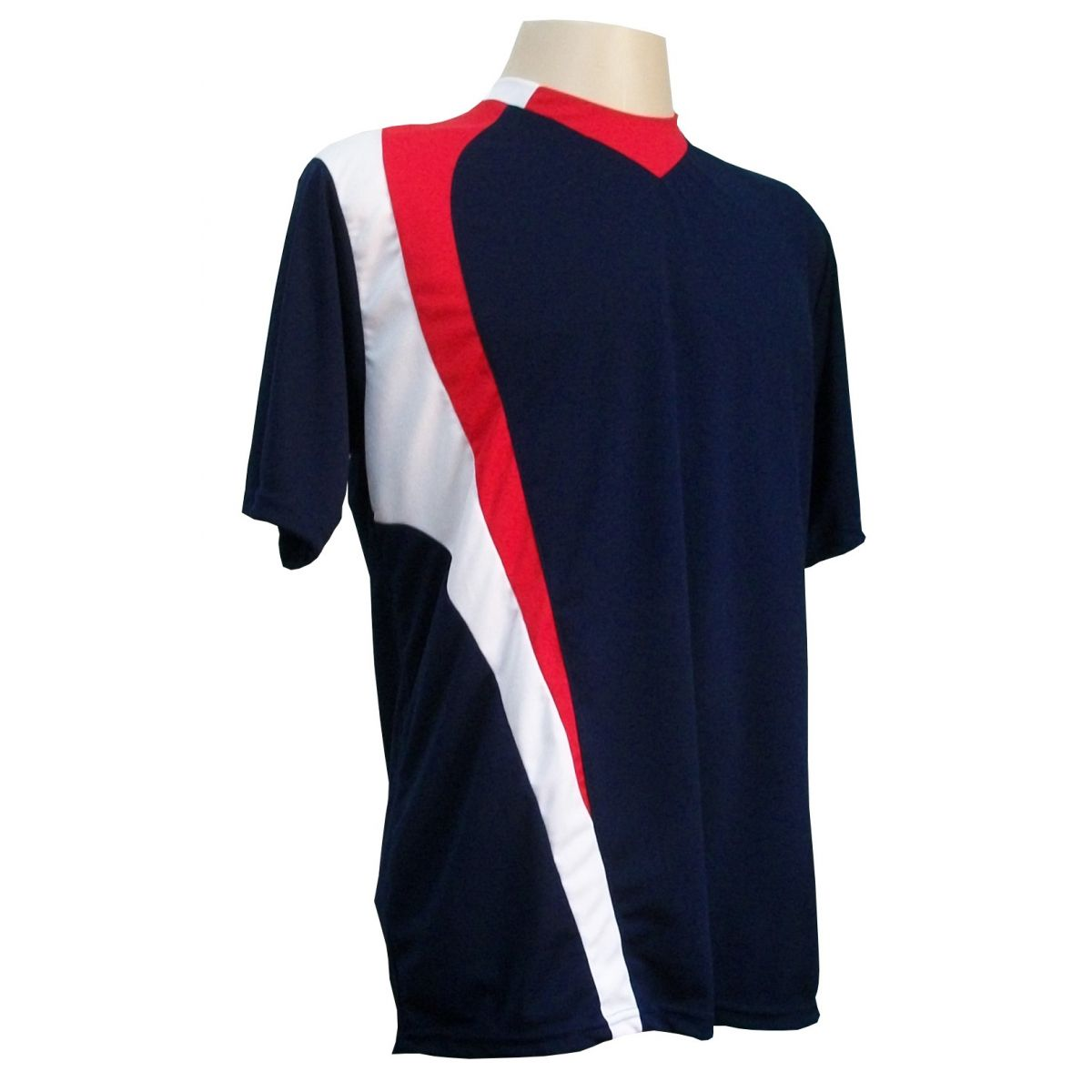 Uniforme Esportivo com 14 camisas modelo PSG Marinho/Vermelho/Branco + 14 calções modelo Madrid Marinho + Brindes