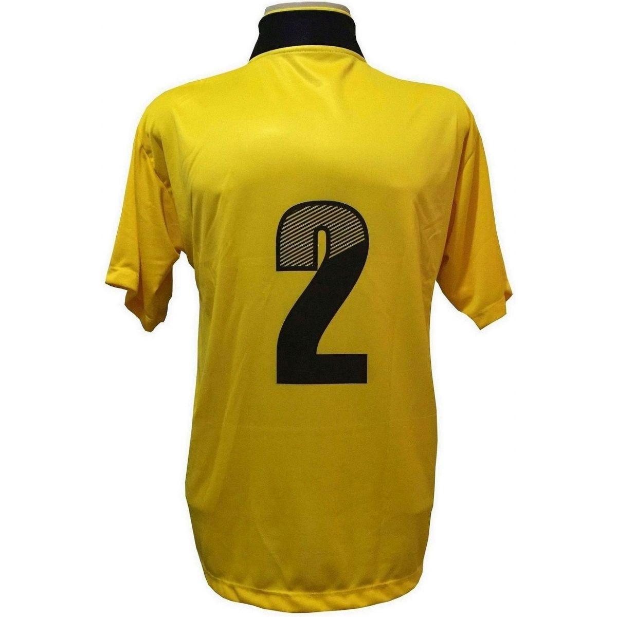 Uniforme Esportivo Completo Modelo Suécia 14+1 (14 Camisas Amarelo/Preto + 14 Calções Modelo Copa Preto/Amarelo + 14 Pares de Meiões Pretos + 1 Conjunto de Goleiro) + Brindes