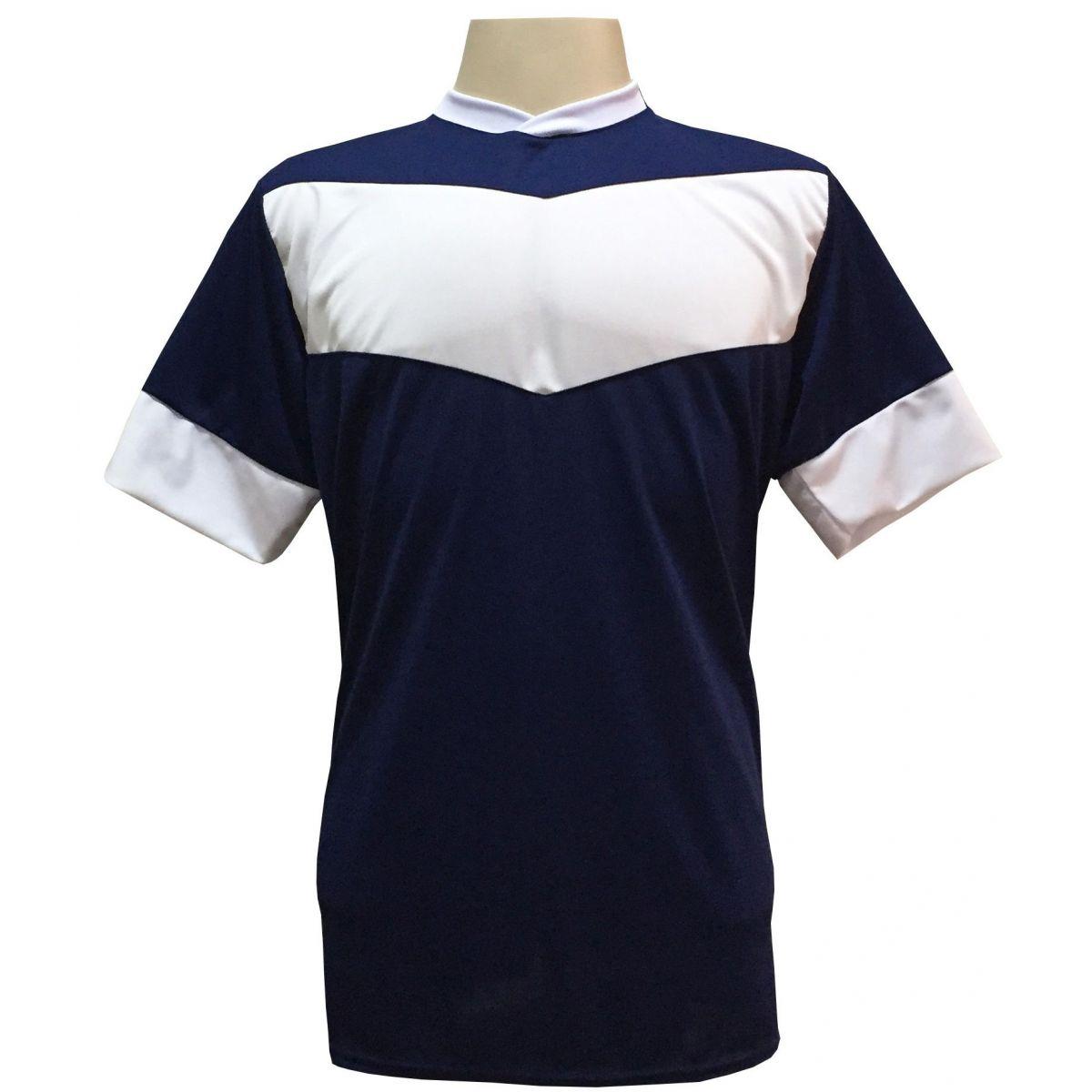 Jogo de Camisa com 18 unidades modelo Columbus Marinho/Branco + Brindes