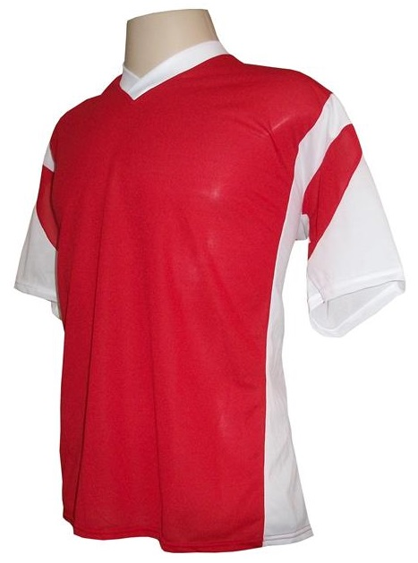 Jogo de Camisa Promocional com 18 Peças Numeradas Modelo Attack Vermelho/Branco - Frete Grátis Brasil