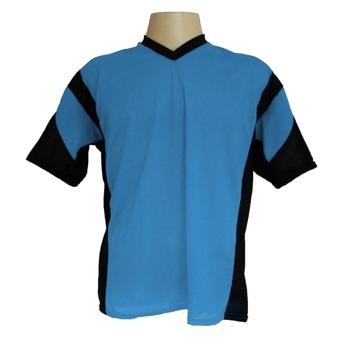 Jogo de Camisa Promocional com 18 Peças Numeradas Modelo Attack Celeste/Preto