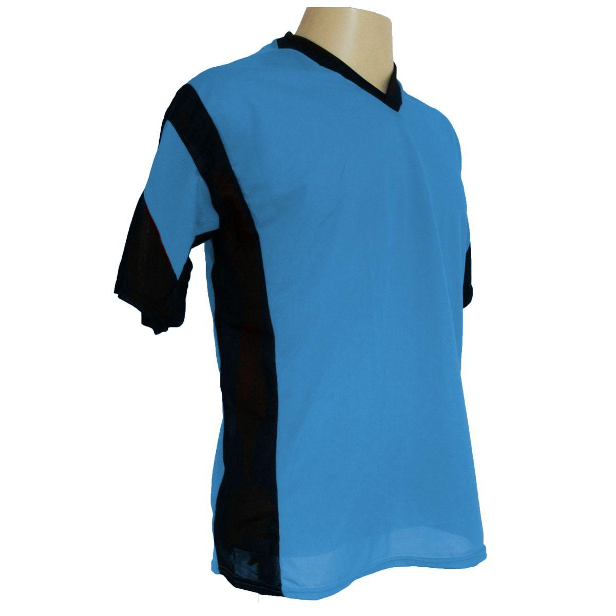 Jogo de Camisa Promocional com 12 Peças Numeradas Modelo Attack Celeste/Preto