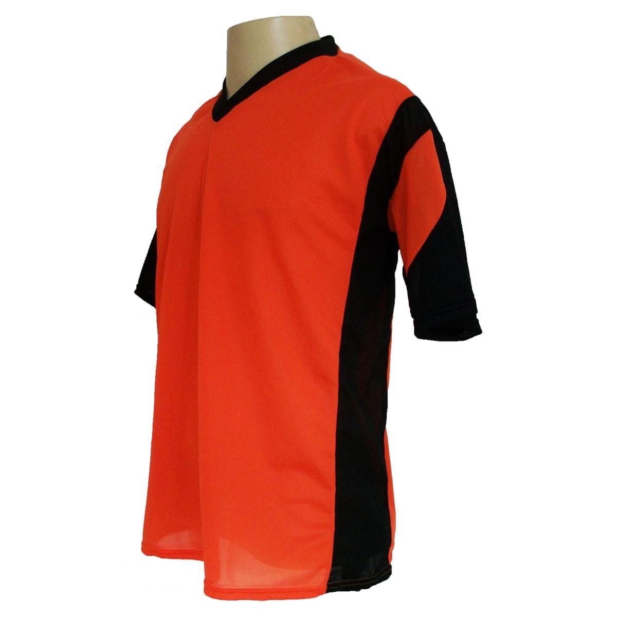 Jogo de Camisa Promocional com 12 Peças Numeradas Modelo Attack Laranja/Preto - Frete Grátis Brasil