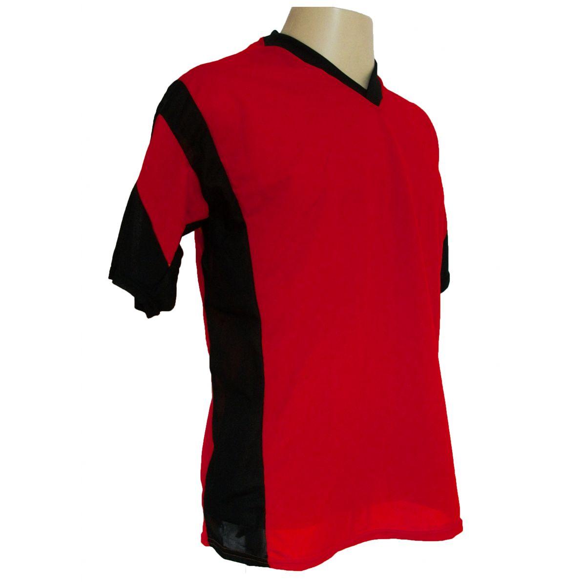 Jogo de Camisa Promocional com 12 Peças Numeradas Modelo Attack Vermelho/Preto