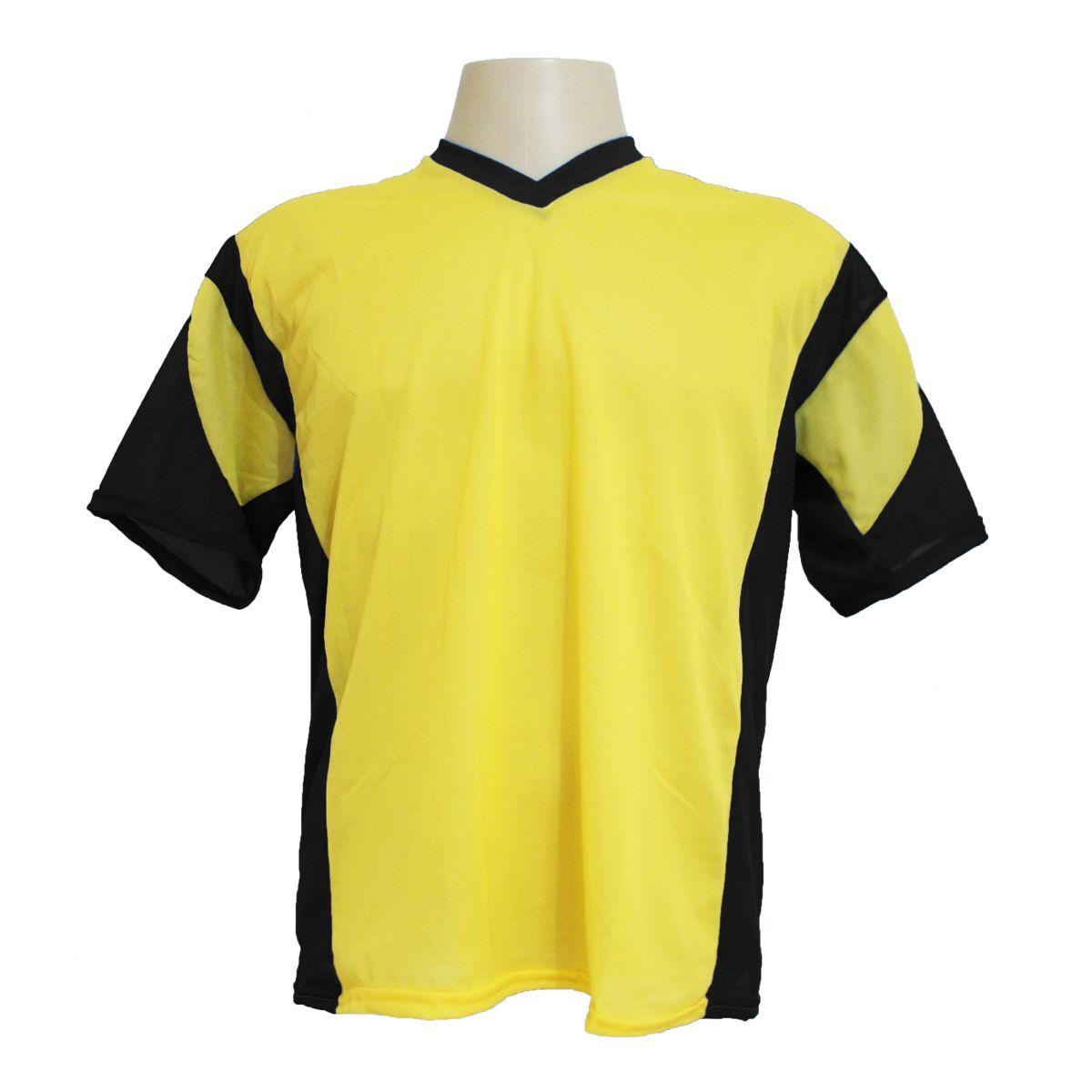 Jogo de Camisa Promocional com 12 Peças Numeradas Modelo Attack Amarelo/Preto - Frete Grátis Brasil