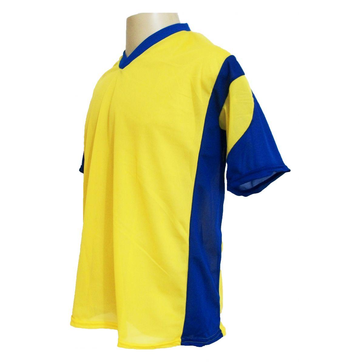 Jogo de Camisa Promocional com 12 Peças Numeradas Modelo Attack Amarelo/Royal - Frete Grátis Brasil