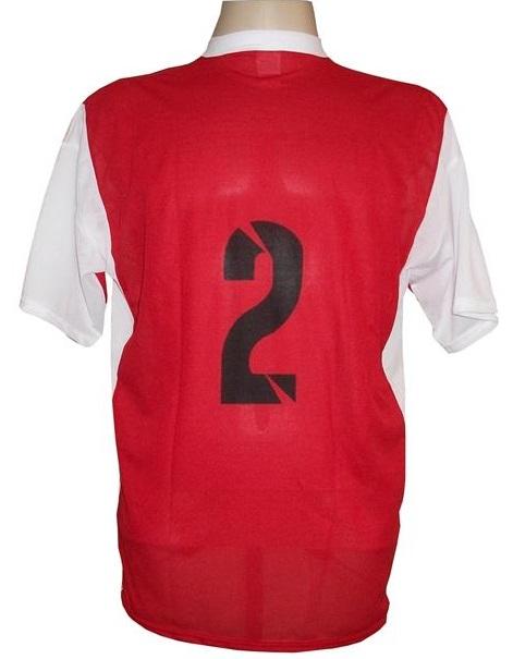 Jogo de Camisa Promocional com 12 Peças Numeradas Modelo Attack Vermelho/Branco
