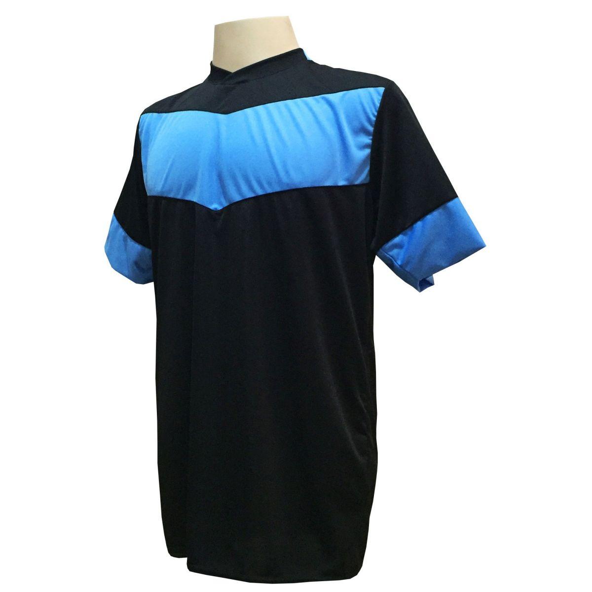 Jogo de Camisa com 18 unidades modelo Columbus Preto/Celeste + Brindes