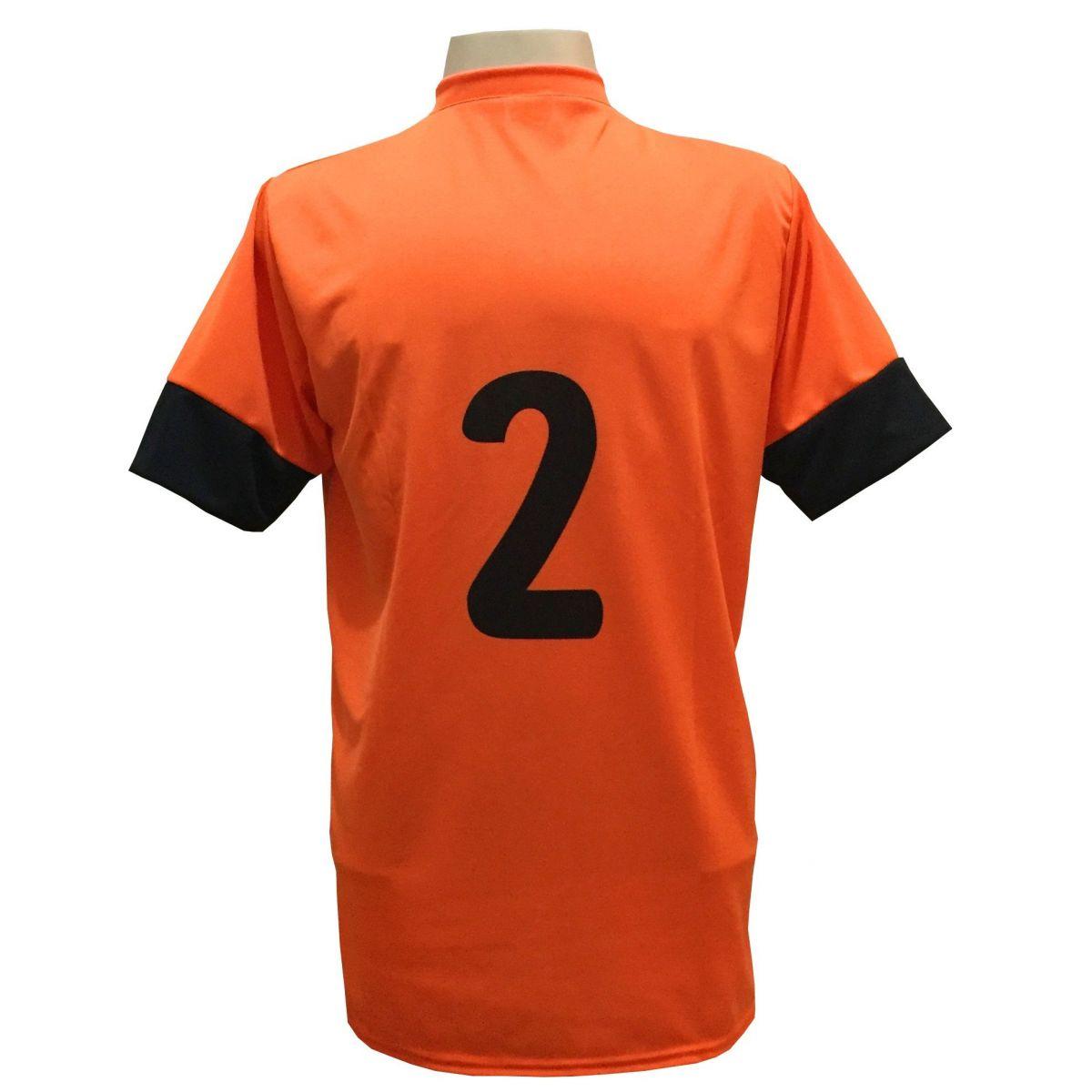 Jogo de Camisa com 18 unidades modelo Columbus Laranja/Preto + Brindes