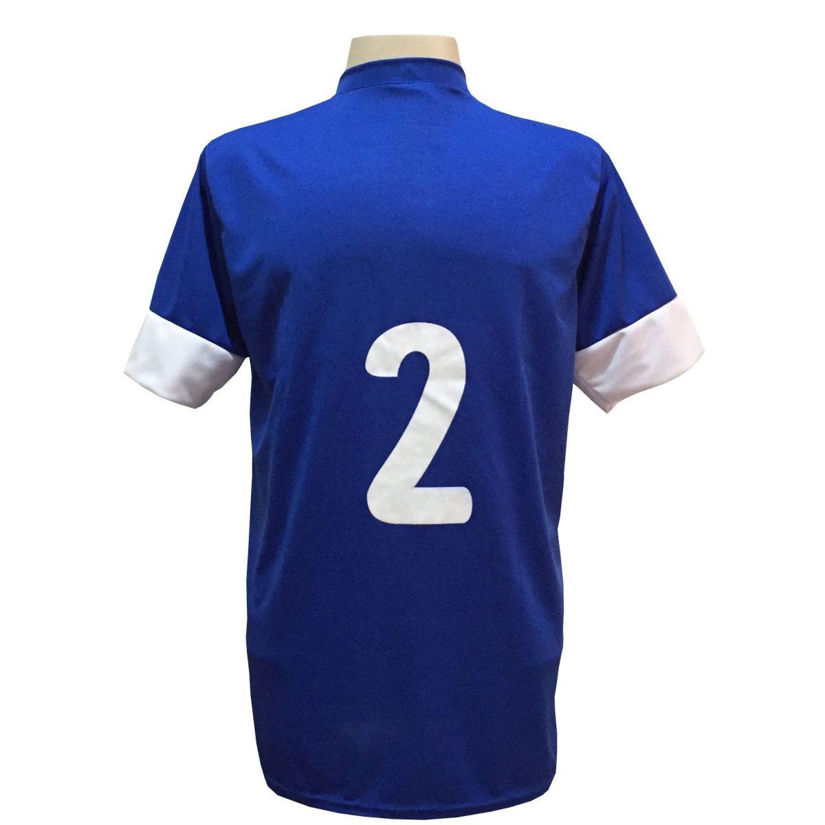 Jogo de Camisa com 18 unidades Columbus Royal/Branco + 1 Goleiro + Brindes