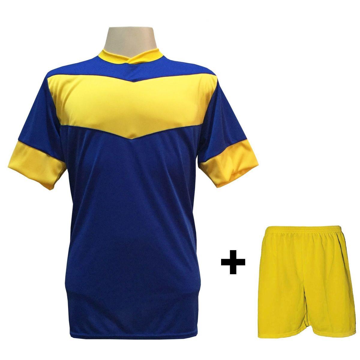 1fa784164 Uniforme Esportivo com 18 camisas modelo Columbus Royal/Amarelo + 18  calções modelo Madrid Amarelo ...