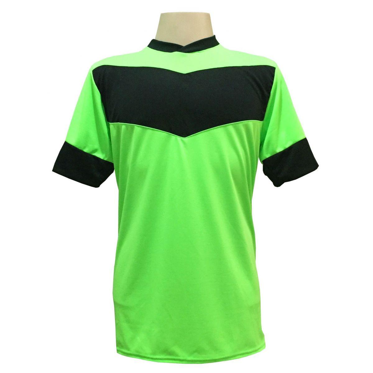 Uniforme Esportivo com 18 camisas modelo Columbus Limão/Preto + 18 calções modelo Madrid Preto + Brindes