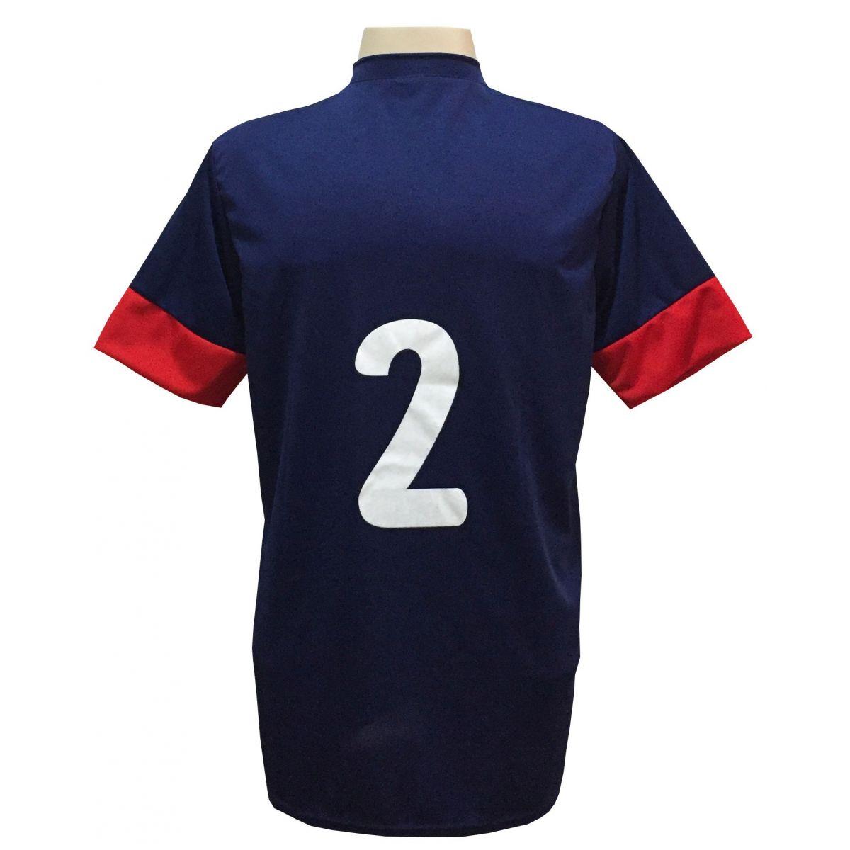 Uniforme Esportivo com 18 camisas modelo Columbus Marinho/Vermelho + 18 calções modelo Madrid Vermelho + Brindes