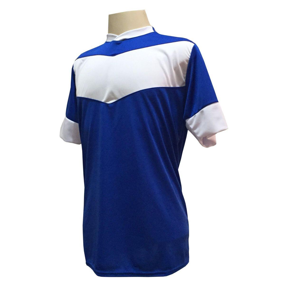 Uniforme Esportivo com 18 camisas modelo Columbus Royal/Branco + 18 calções modelo Madrid Branco + Brindes