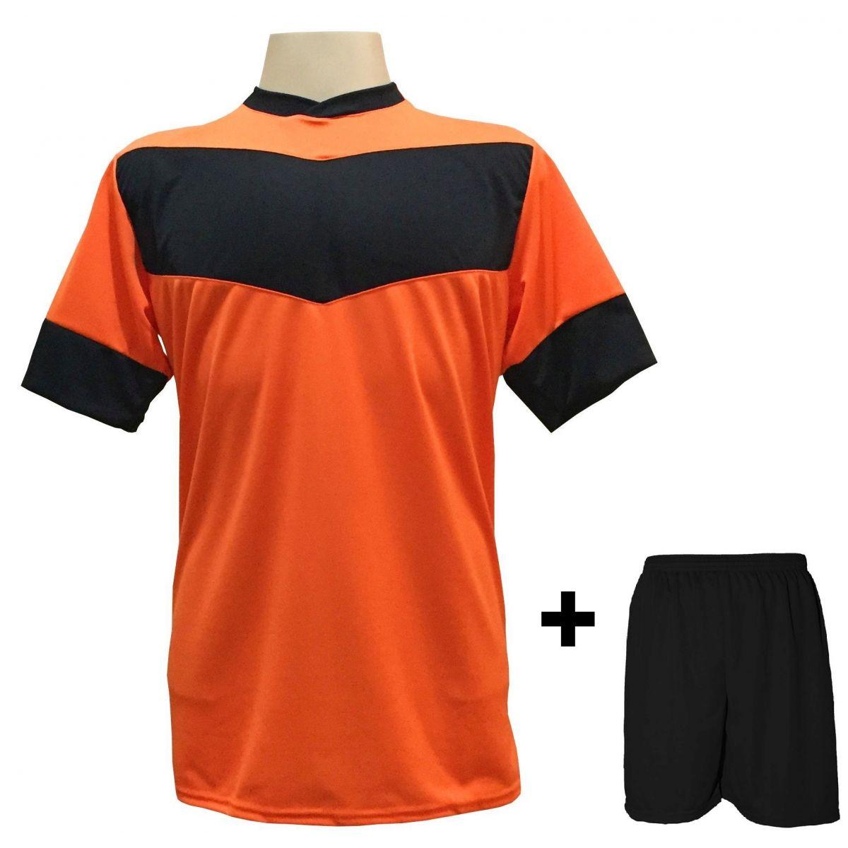 Uniforme Esportivo com 18 camisas modelo Columbus Laranja/Preto + 18 calções modelo Madrid Preto + Brindes