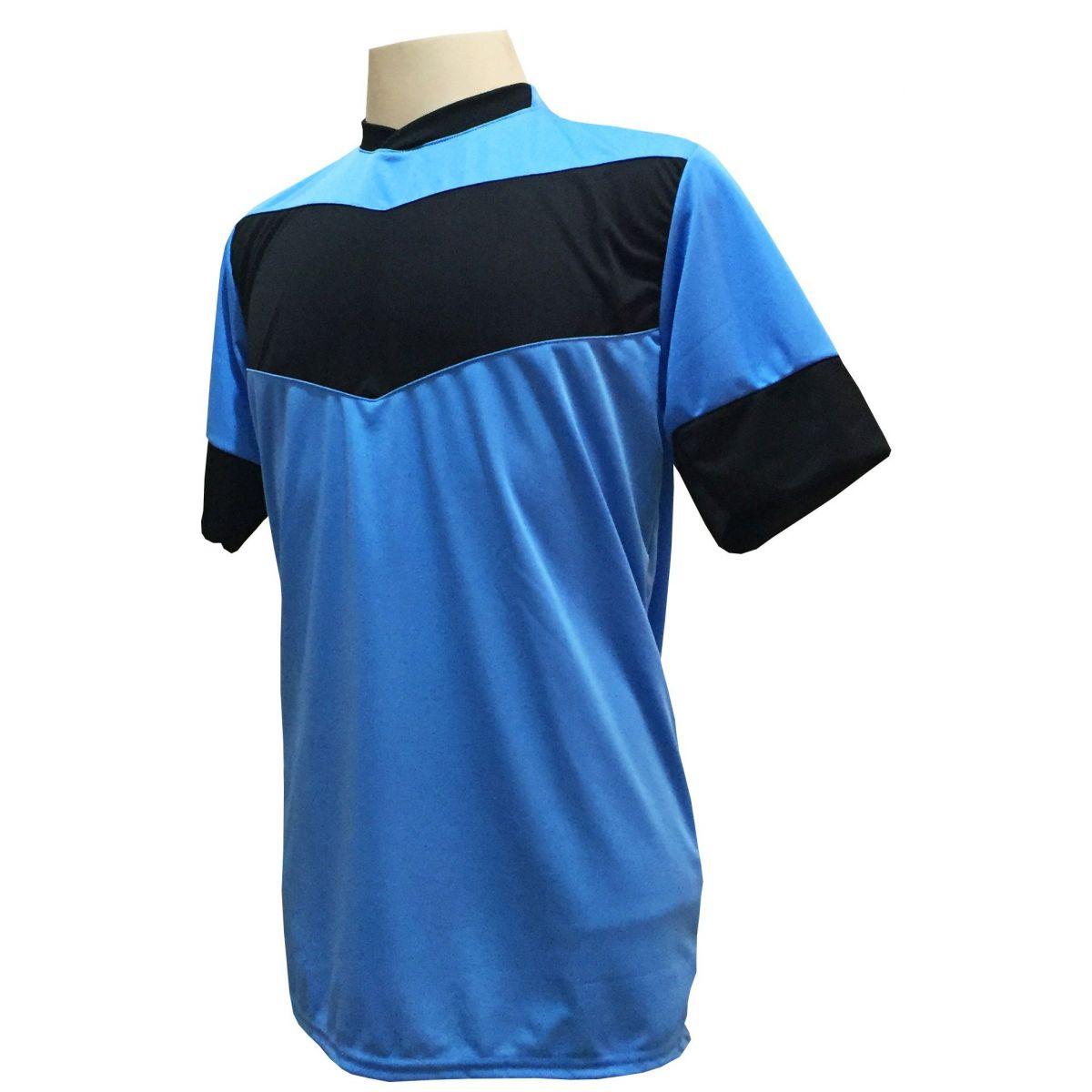 Uniforme Esportivo com 18 camisas modelo Columbus Celeste/Preto + 18 calções modelo Madrid Preto + Brindes