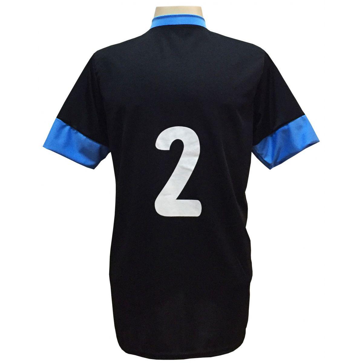 Uniforme Esportivo com 18 camisas modelo Columbus Preto/Celeste + 18 calções modelo Madrid Preto + Brindes