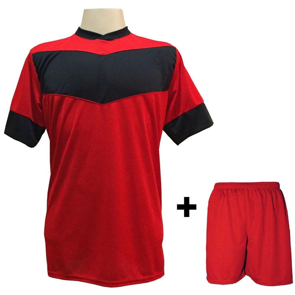 Uniforme Esportivo com 18 camisas modelo Columbus Vermelho/Preto + 18 calções modelo Madrid Vermelho + Brindes