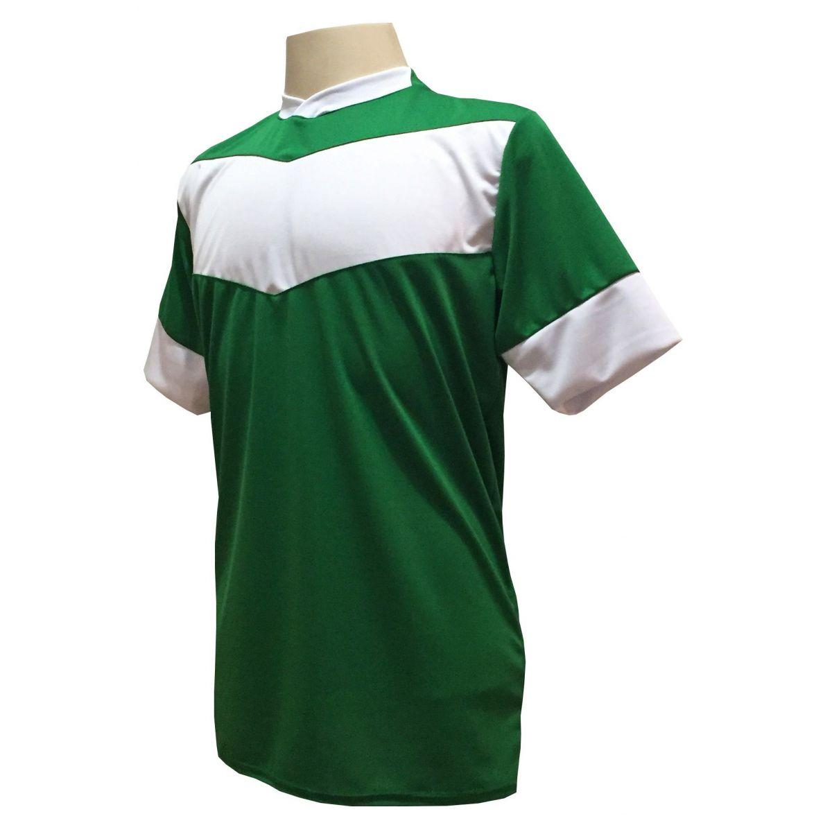 Uniforme Esportivo com 18 camisas modelo Columbus Verde/Branco + 18 calções modelo Madrid Branco + Brindes