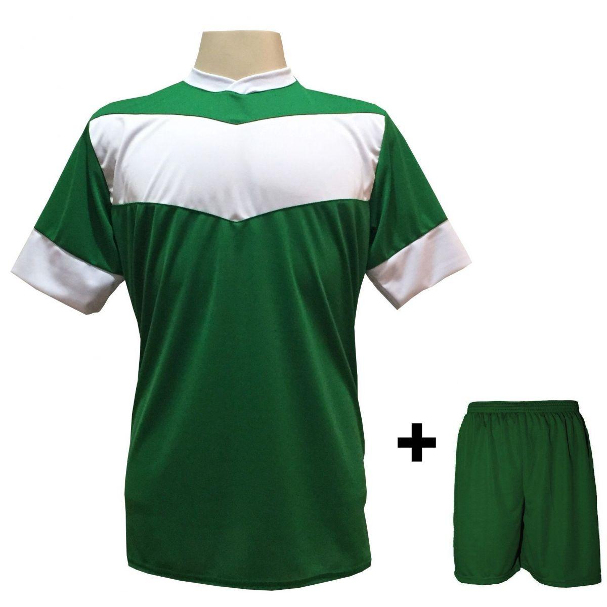 Uniforme Esportivo com 18 camisas modelo Columbus Verde/Branco + 18 calções modelo Madrid Verde + Brindes
