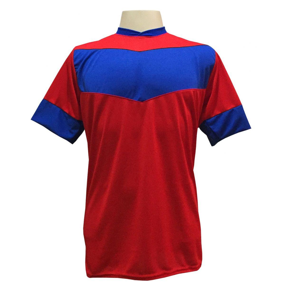 Uniforme Esportivo com 18 camisas modelo Columbus Vermelho/Royal + 18 calções modelo Madrid Royal + Brindes