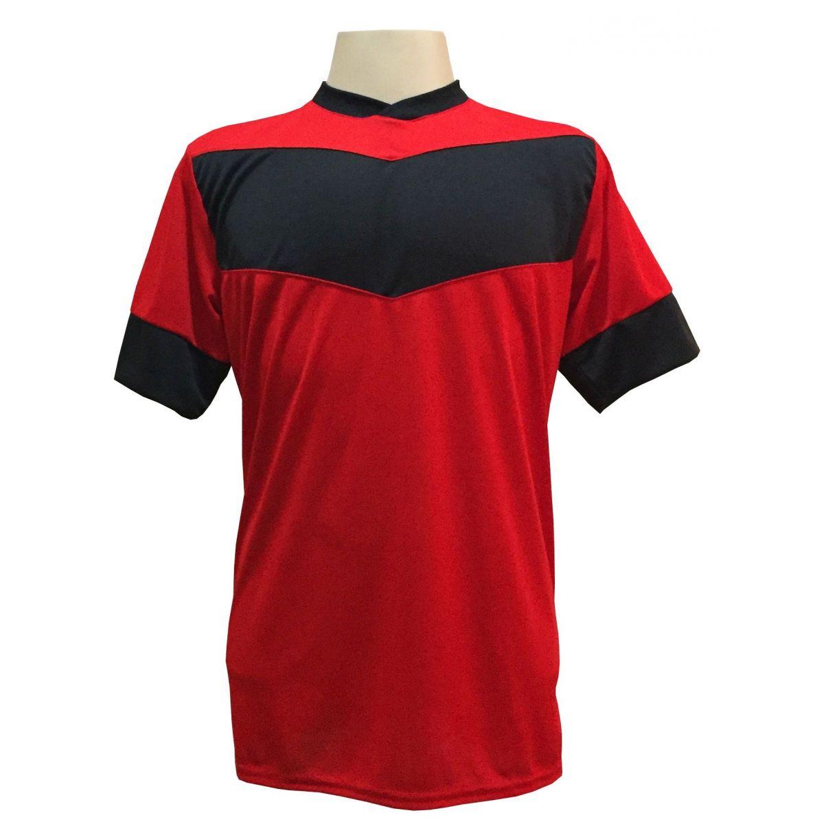 Uniforme Esportivo com 18 camisas modelo Columbus Vermelho/Preto + 18 calções modelo Madrid Preto + Brindes