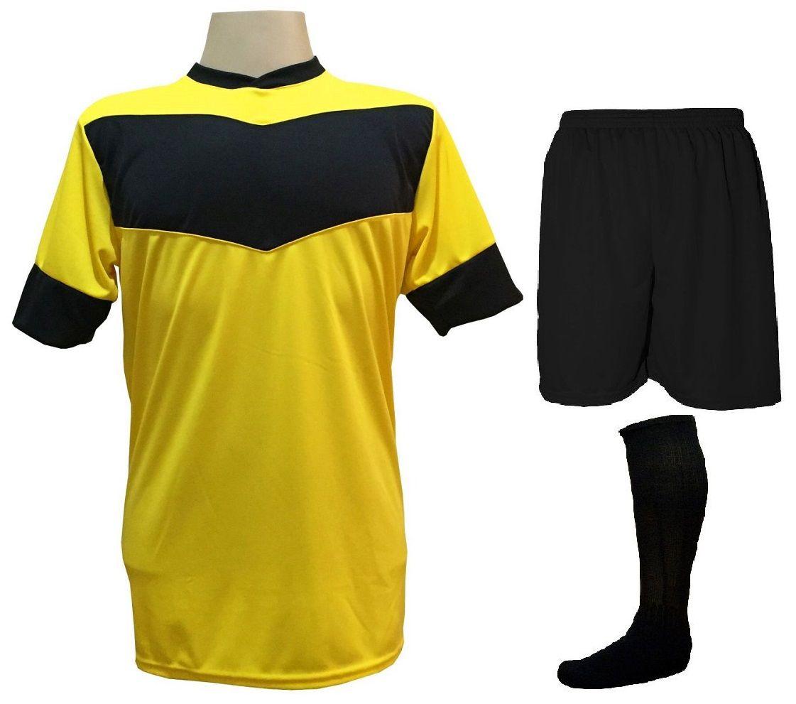 Fardamento Completo Modelo Columbus 18+1 (18 Camisas Amarelo/Preto + 18 Calções Preto + 18 Pares de Meiões Preto + 1 Conjunto de Goleiro) + Brindes