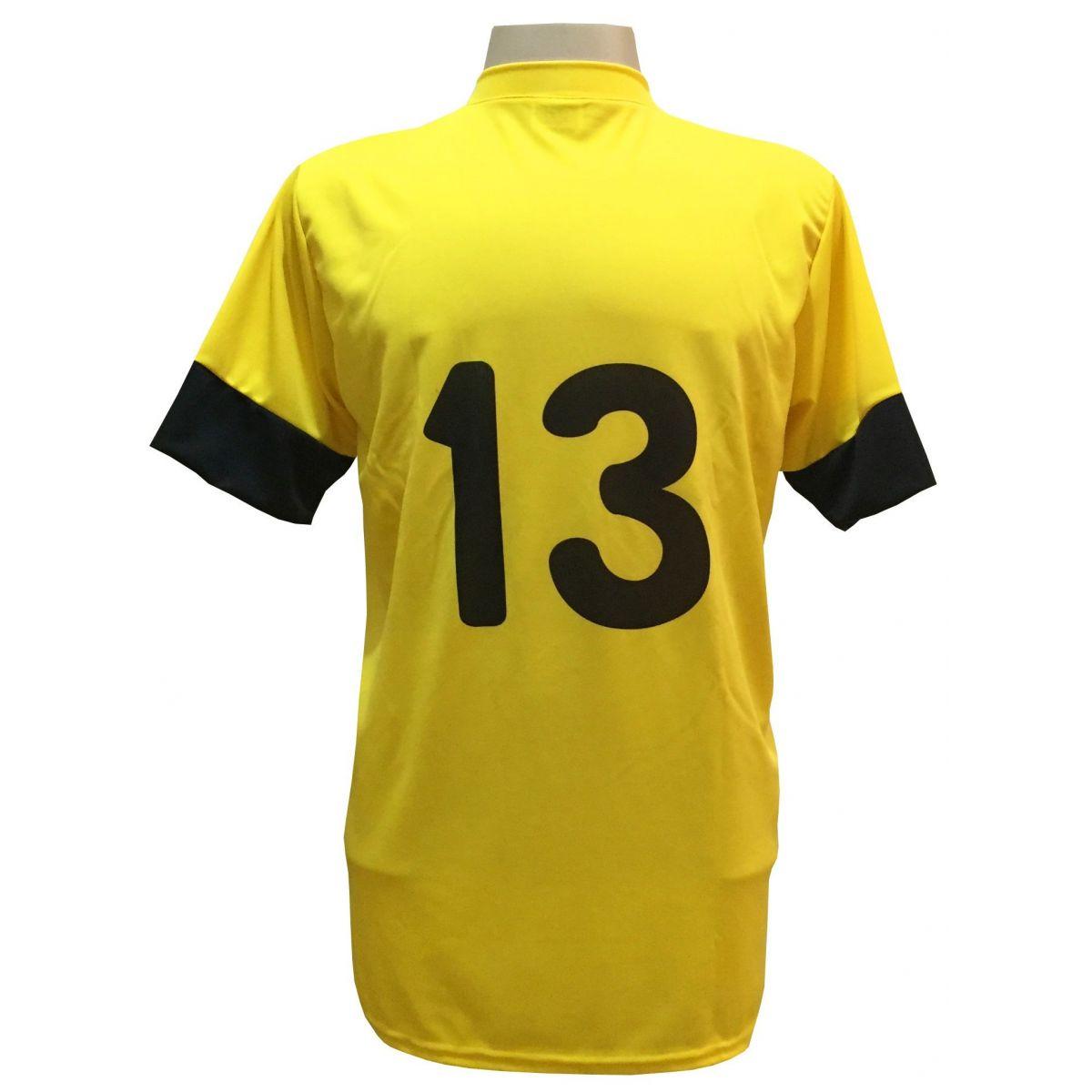 Fardamento Completo Modelo Columbus 18+1 (18 Camisas Amarelo/Preto + 18 Calções Madrid Preto + 18 Pares de Meiões Amarelo + 1 Conjunto de Goleiro) + Brindes