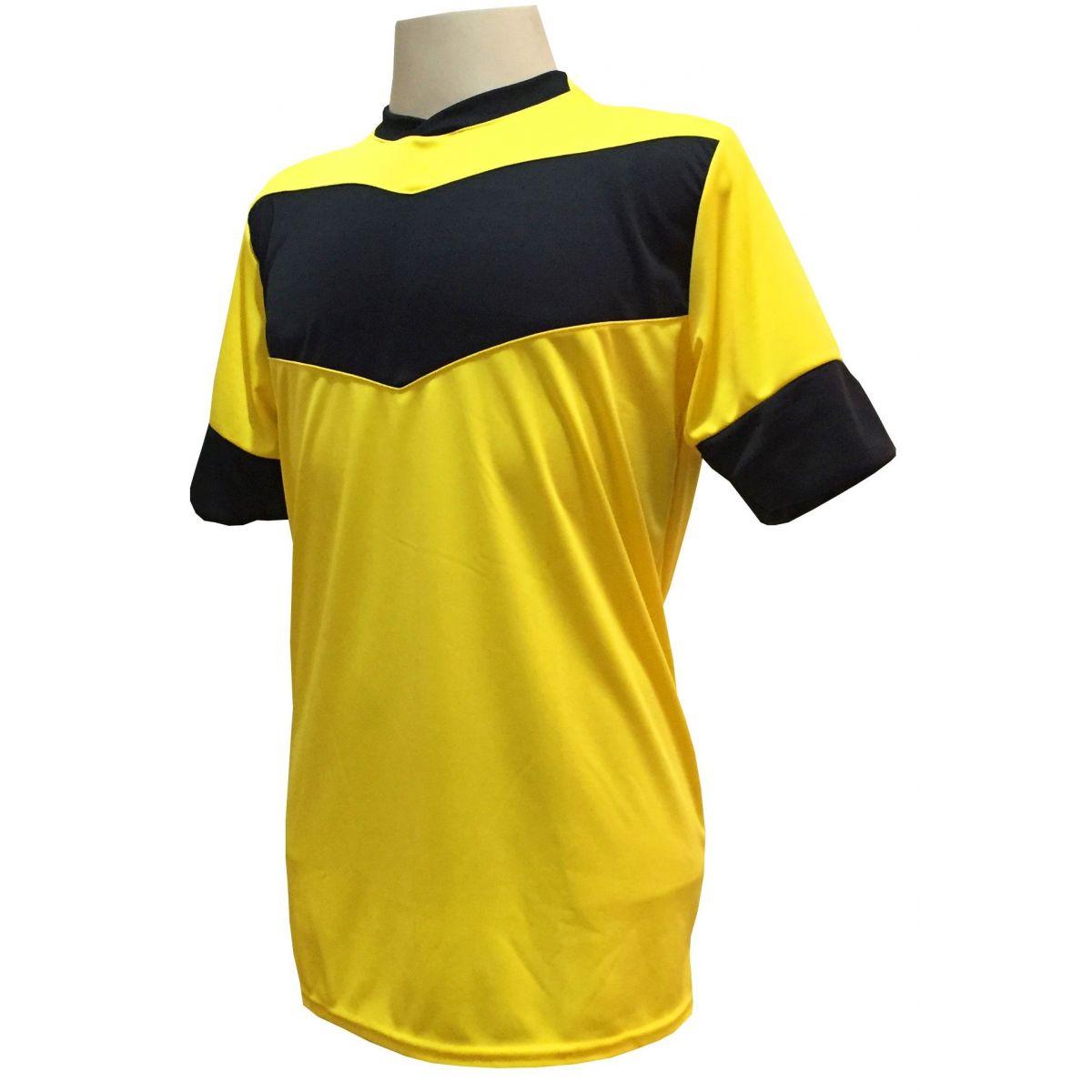 Fardamento Completo Modelo Columbus 18+1 (18 Camisas Amarelo/Preto + 18 Calções Madrid Amarelo + 18 Pares de Meiões Amarelo + 1 Conjunto de Goleiro) + Brindes