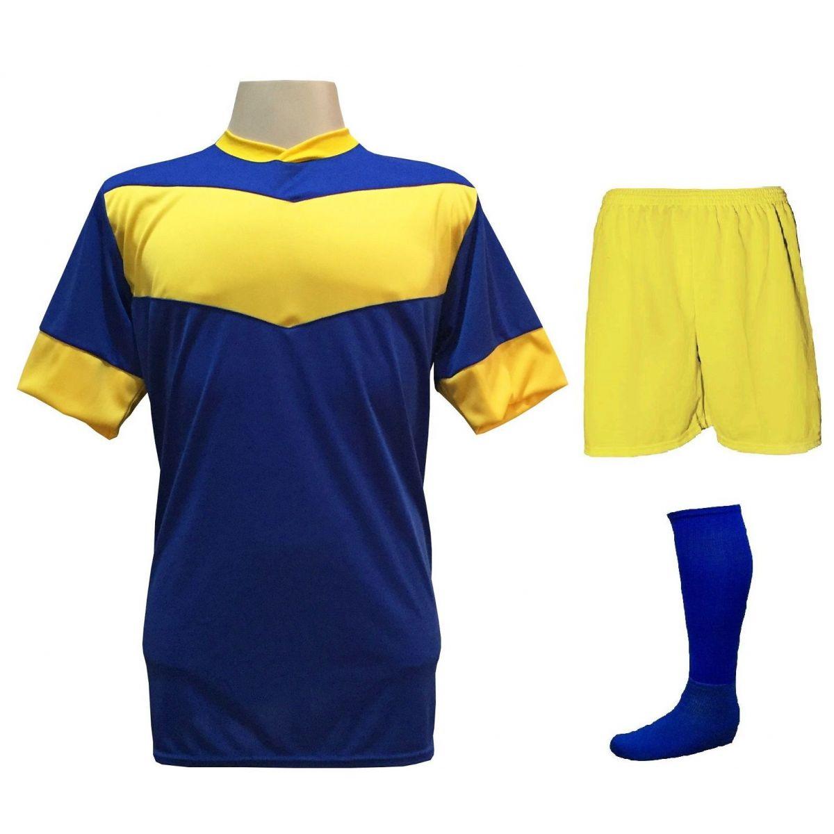 Fardamento Completo Modelo Columbus 18+1 (18 Camisas Royal/Amarelo + 18 Calções Madrid Amarelo + 18 Pares de Meiões Royal + 1 Conjunto de Goleiro) + Brindes
