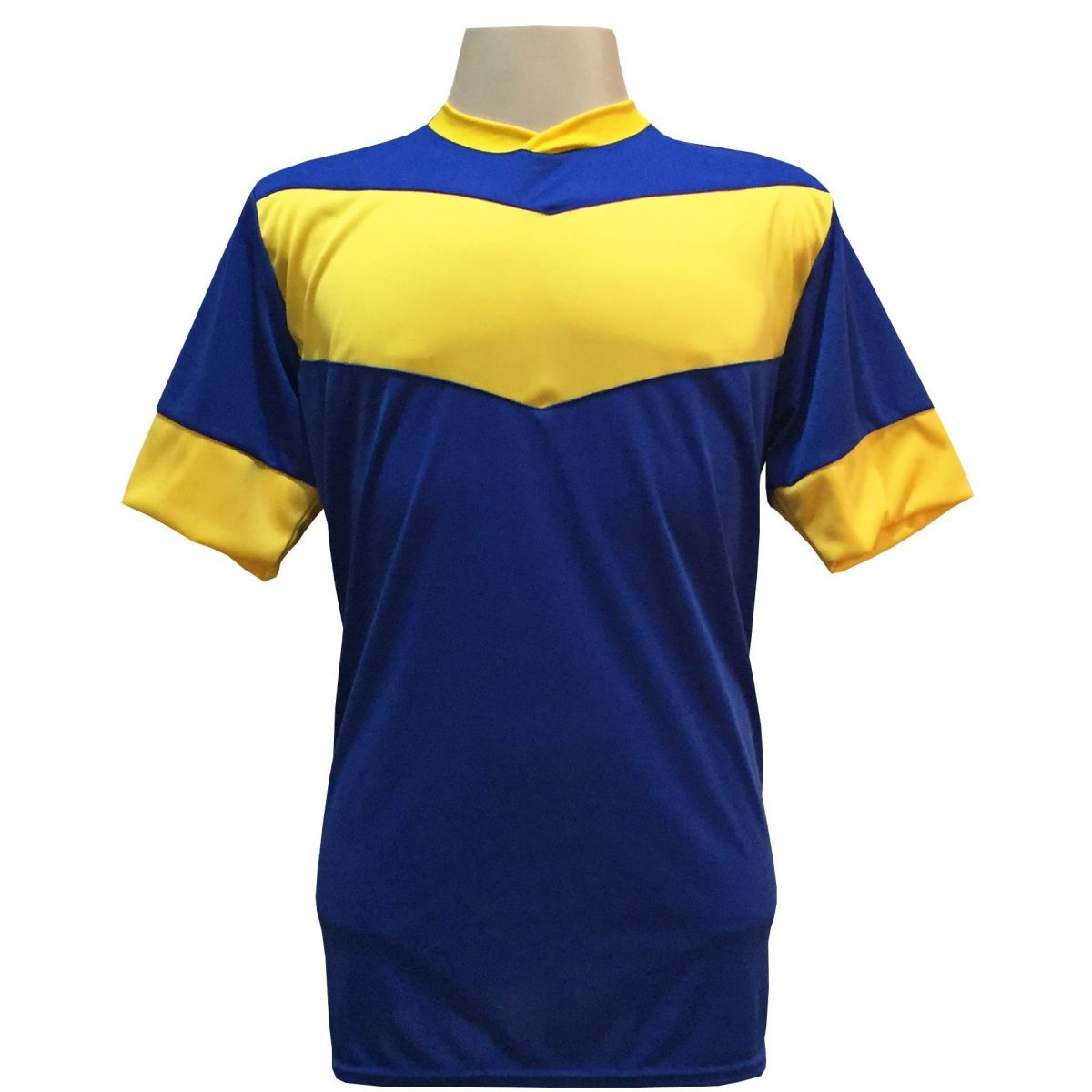 Fardamento Completo Modelo Columbus 18+1 (18 Camisas Royal/Amarelo + 18 Calções Madrid Royal + 18 Pares de Meiões Royal + 1 Conjunto de Goleiro) + Brindes