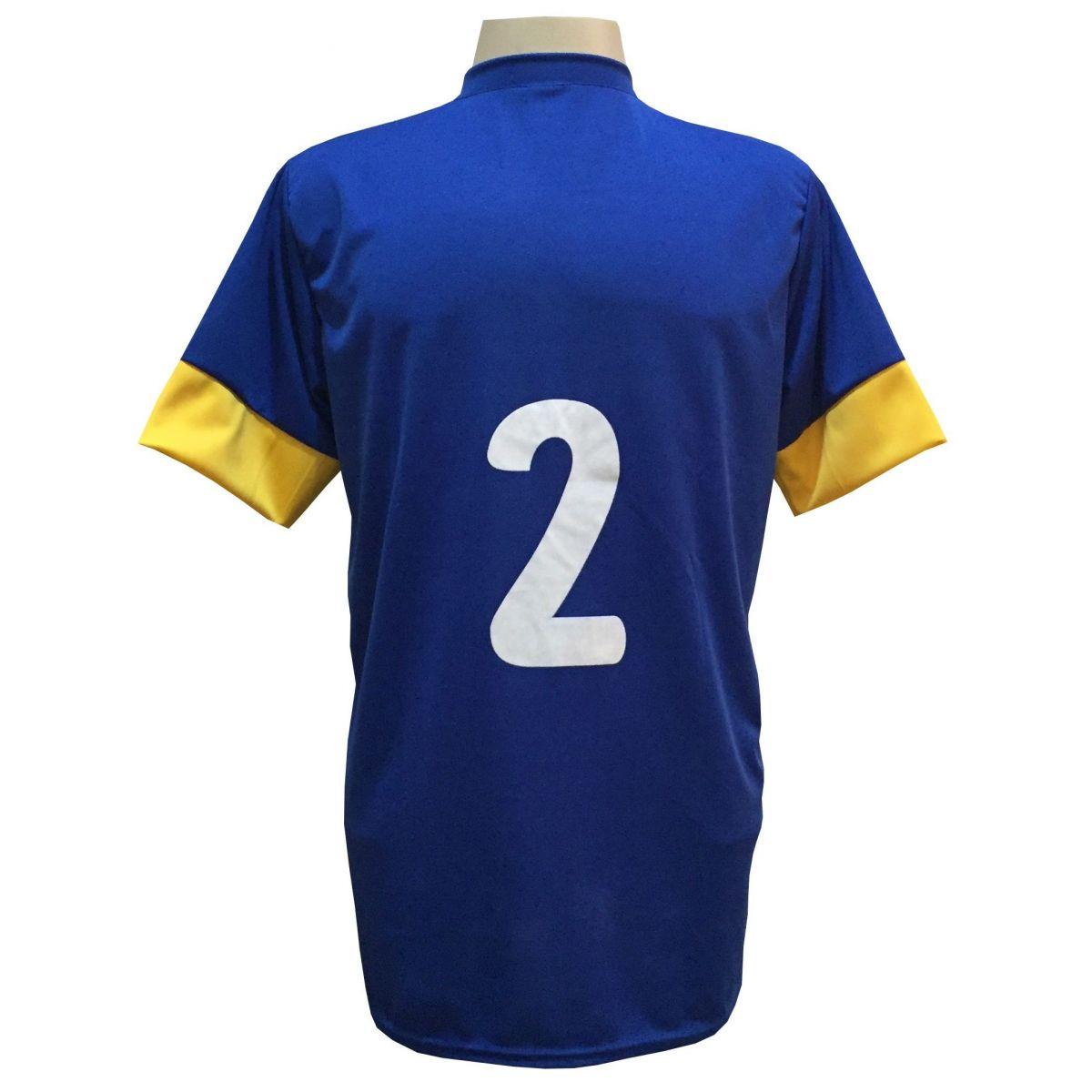 Fardamento Completo Modelo Columbus 18+1 (18 Camisas Royal/Amarelo + 18 Calções Madrid Royal + 18 Pares de Meiões Amarelos + 1 Conjunto de Goleiro) + Brindes