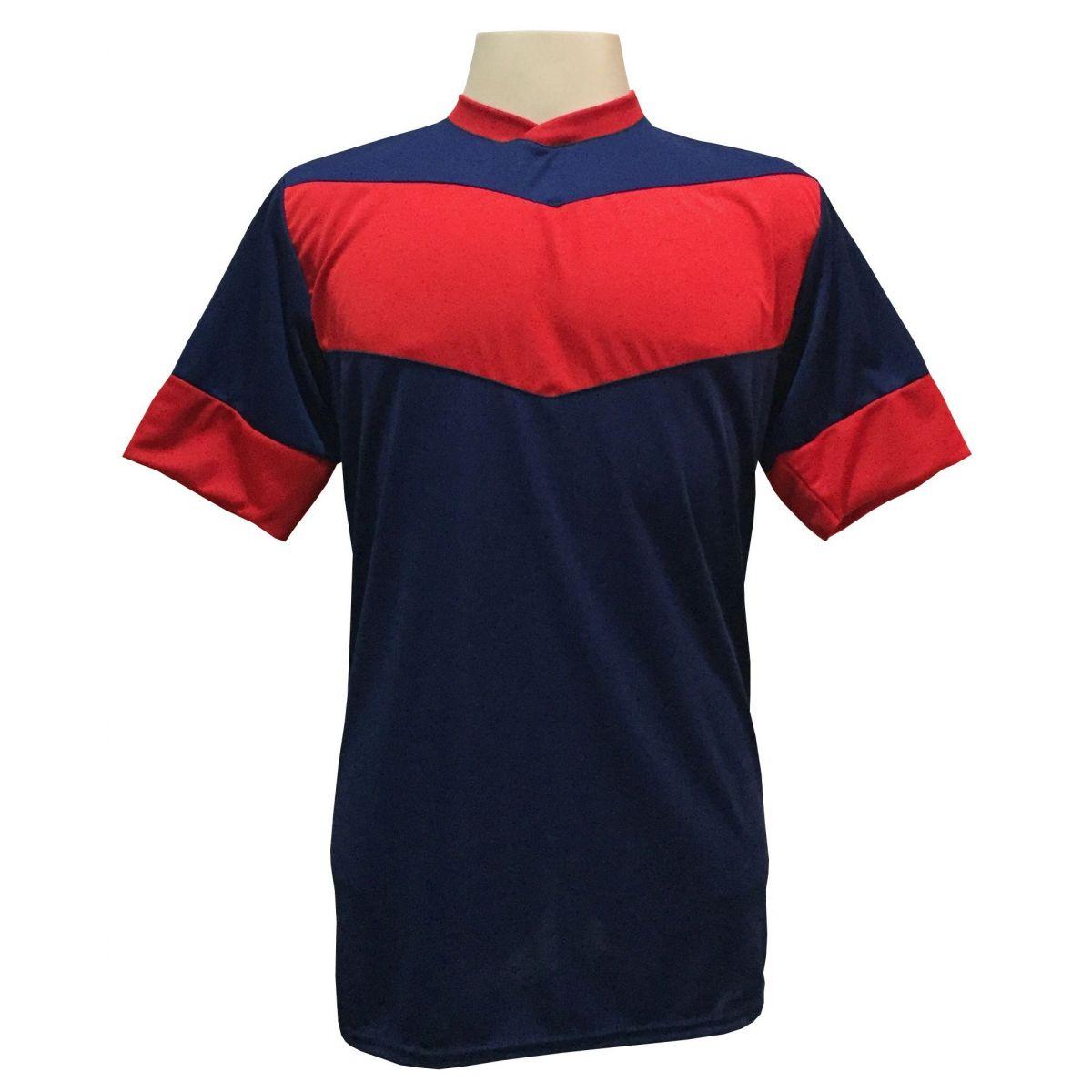 Fardamento Completo Modelo Columbus 18+1 (18 Camisas Marinho/Vermelho + 18 Calções Madrid Marinho + 18 Pares de Meiões Vermelhos + 1 Conjunto de Goleiro) + Brindes