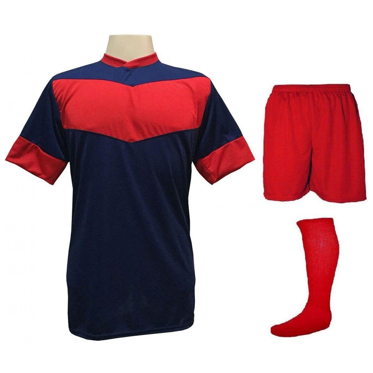 Fardamento Completo Modelo Columbus 18+1 (18 Camisas Marinho/Vermelho + 18 Calções Madrid Vermelho + 18 Pares de Meiões Vermelhos + 1 Conjunto de Goleiro) + Brindes