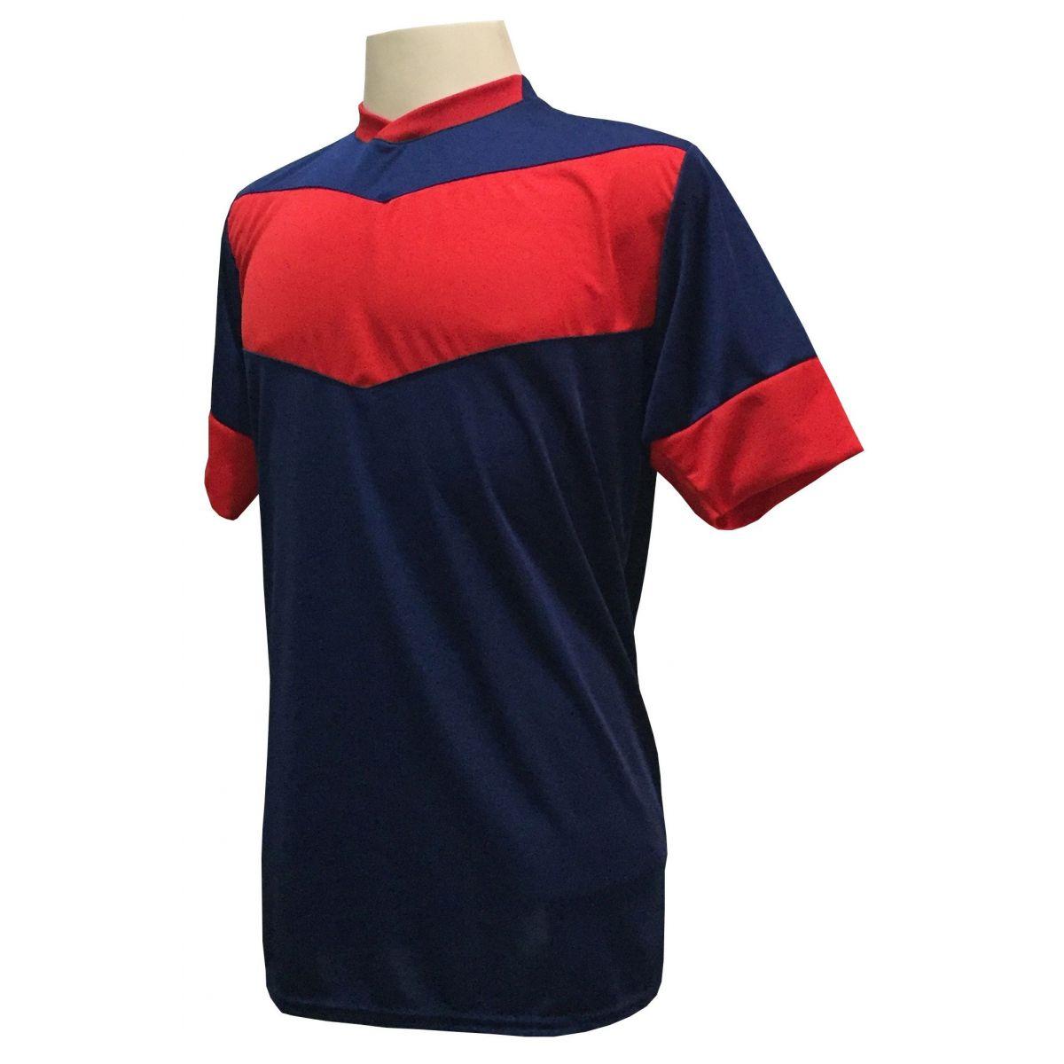 Fardamento Completo Modelo Columbus 18+1 (18 Camisas Marinho/Vermelho + 18 Calções Madrid Vermelho + 18 Pares de Meiões Marinho + 1 Conjunto de Goleiro) + Brindes