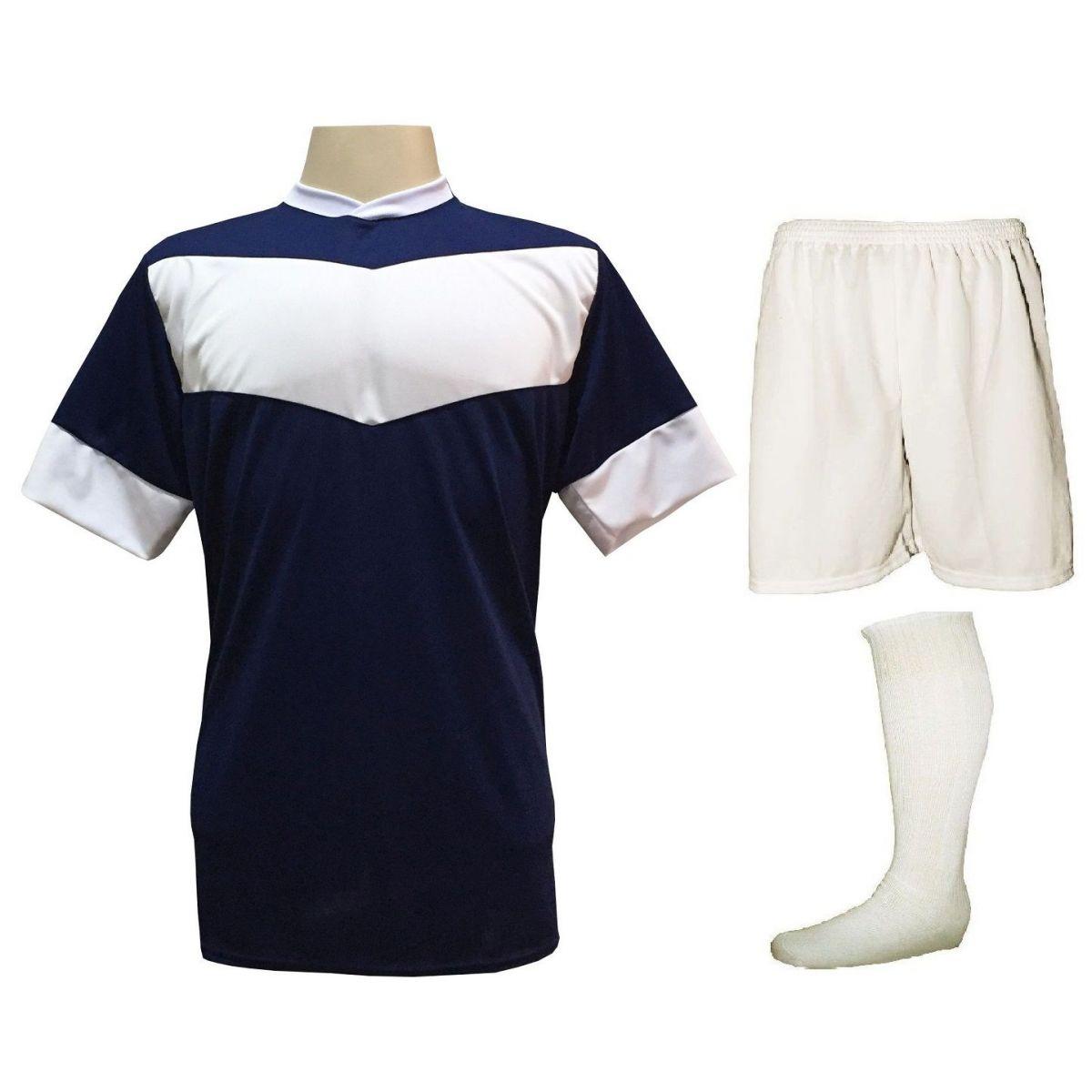 Fardamento Completo Modelo Columbus 18+1 (18 Camisas Marinho/Branco + 18 Calções Madrid Branco + 18 Pares de Meiões Brancos + 1 Conjunto de Goleiro) + Brindes