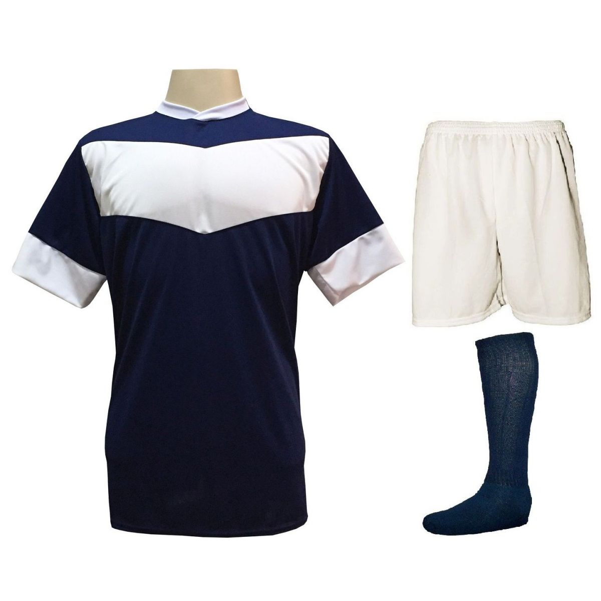 Fardamento Completo Modelo Columbus 18+1 (18 Camisas Marinho/Branco + 18 Calções Madrid Branco + 18 Pares de Meiões Marinho + 1 Conjunto de Goleiro) + Brindes