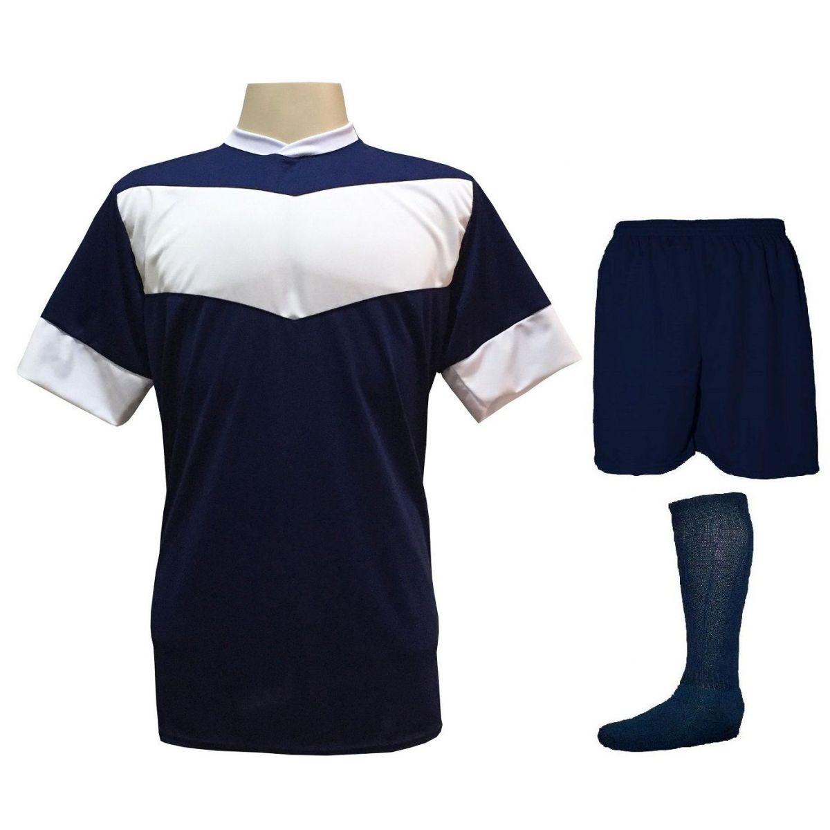 Fardamento Completo Modelo Columbus 18+1 (18 Camisas Marinho/Branco + 18 Calções Madrid Marinho + 18 Pares de Meiões Marinho + 1 Conjunto de Goleiro) + Brindes
