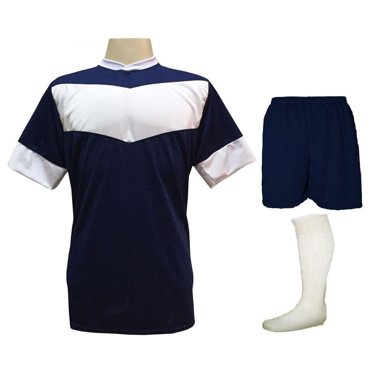 Fardamento Completo Modelo Columbus 18+1 (18 Camisas Marinho/Branco + 18 Calções Madrid Marinho + 18 Pares de Meiões Brancos + 1 Conjunto de Goleiro) + Brindes
