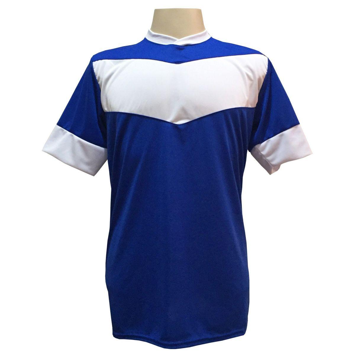 Fardamento Completo Modelo Columbus 18+1 (18 Camisas Royal/Branco + 18 Calções Madrid Royal + 18 Pares de Meiões Brancos + 1 Conjunto de Goleiro) + Brindes