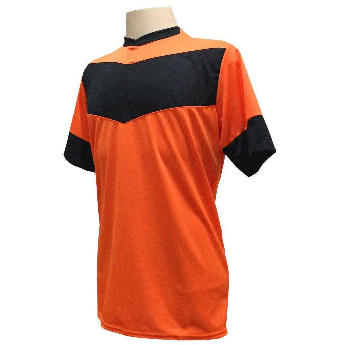 Fardamento Completo Modelo Columbus 18+1 (18 Camisas Laranja/Preto + 18 Calções Madrid Preto + 18 Pares de Meiões Preto + 1 Conjunto de Goleiro) + Brindes
