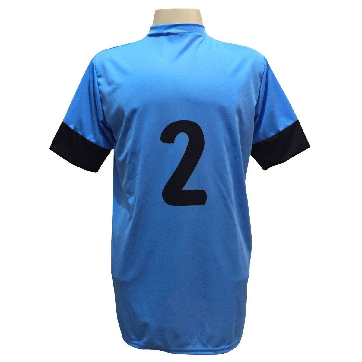 Fardamento Completo Modelo Columbus 18+1 (18 Camisas Celeste/Preto + 18 Calções Madrid Preto + 18 Pares de Meiões Preto + 1 Conjunto de Goleiro) + Brindes