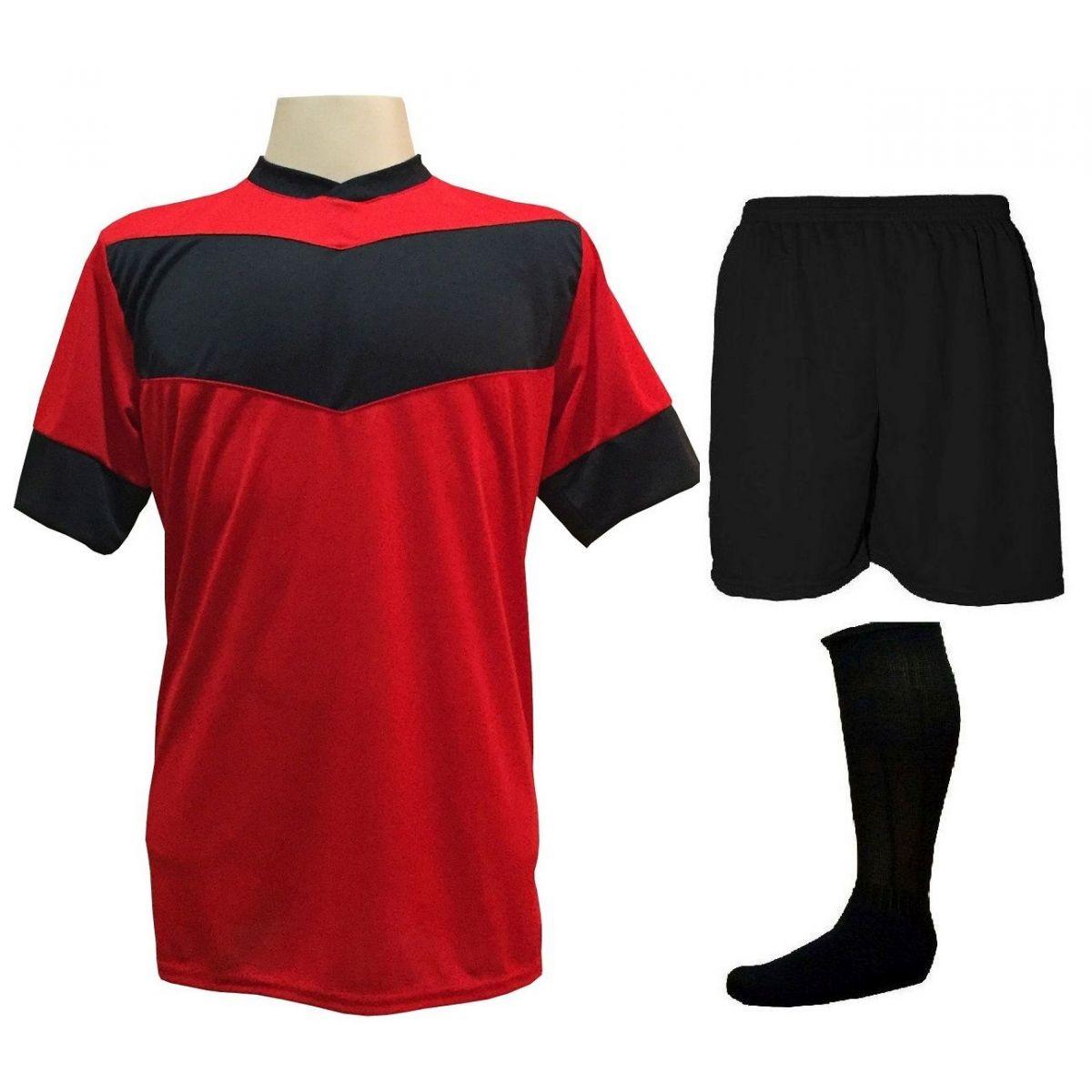 Fardamento Completo Modelo Columbus 18+1 (18 Camisas Vermelho/Preto + 18 Calções Madrid Preto + 18 Pares de Meiões Pretos + 1 Conjunto de Goleiro) + Brindes