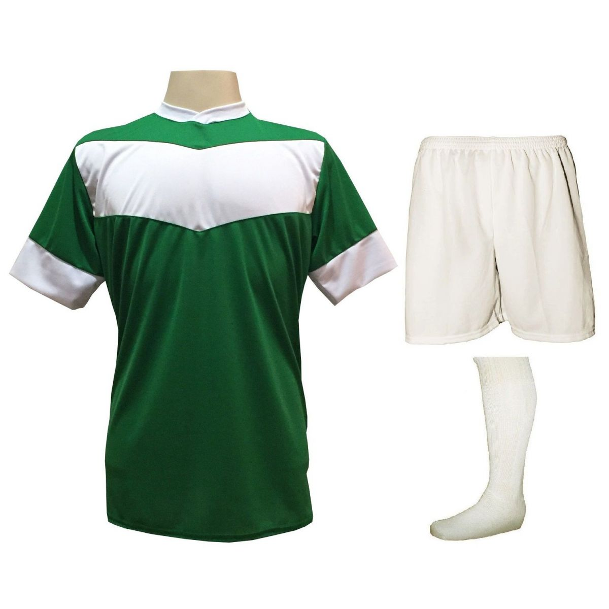 Fardamento Completo Modelo Columbus 18+1 (18 Camisas Verde/Branco + 18 Calções Madrid Branco + 18 Pares de Meiões Brancos + 1 Conjunto de Goleiro) + Brindes
